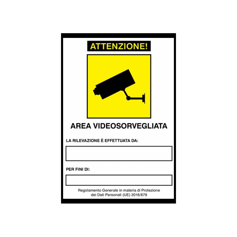 Cartello, adesivo per AREA SOTTOPOSTA A VIDEOSORVEGLIANZA