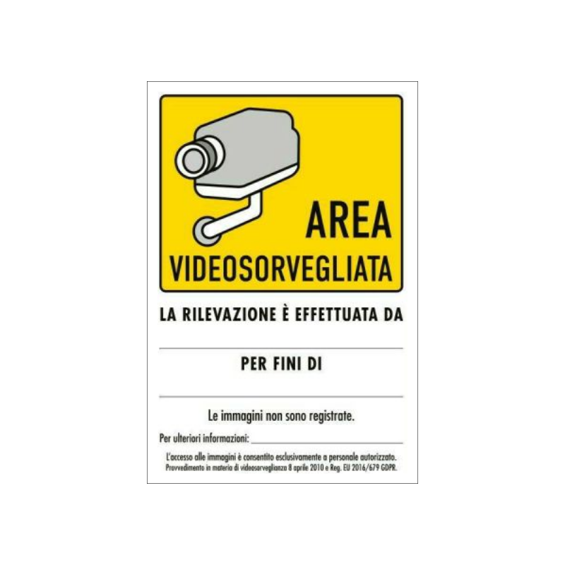 Cartelli e adesivi per AREA SOTTOPOSTA A VIDEOSORVEGLIANZA