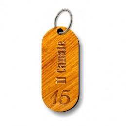 Portachiavi in legno con incisione laser personalizzata indelebile.