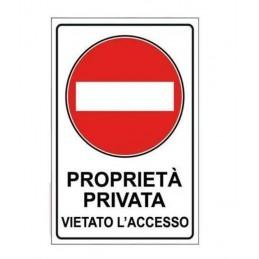 Cartello con simbolo e testo Proprietà Privata Vietato l'Accesso